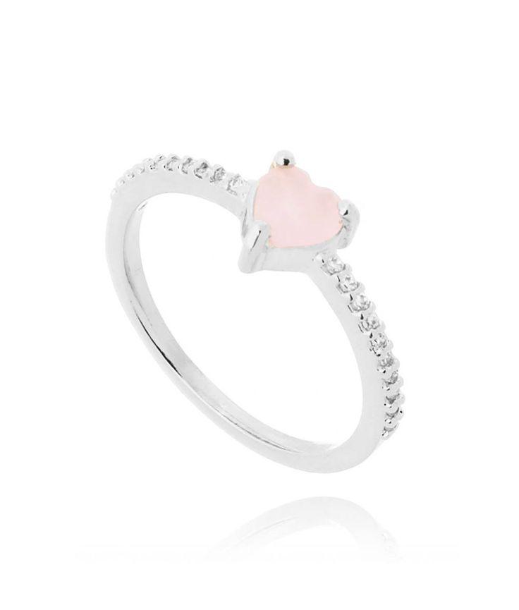anel coracao rosa quartzo prata semijoias