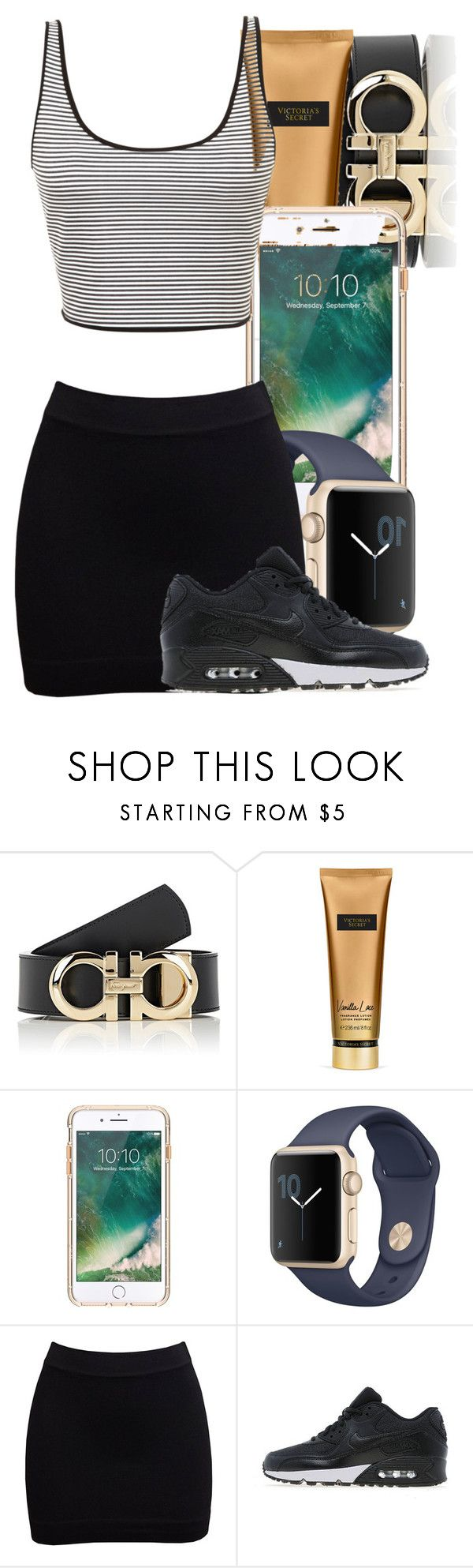"""one"" by monet-princessa ❤ liked on Polyvore featuring Salvatore Ferragamo, Victoria's Secret, Griffin, NIKE and Clover Canyon"