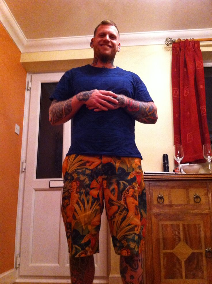 My buddy wearing the pinup lady shorts I made for him.