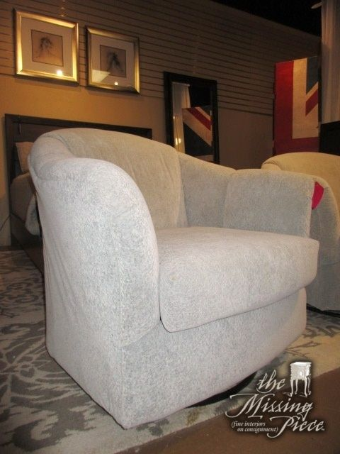 """Transitional style swivel, rocker chair in a cool gray patterned upholstery. Man, is this is a comfortable chair! Rocks and turns with ease. 35""""W x 38""""D x 33""""H. At posting, we have two of these."""