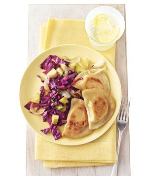 Pierogi With Sauteed Red Cabbage (only 297 calories per serving)