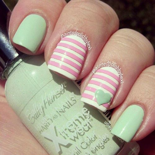Mint Green with Pink and White Strips with a Mint Green Heart Nail Art Design.