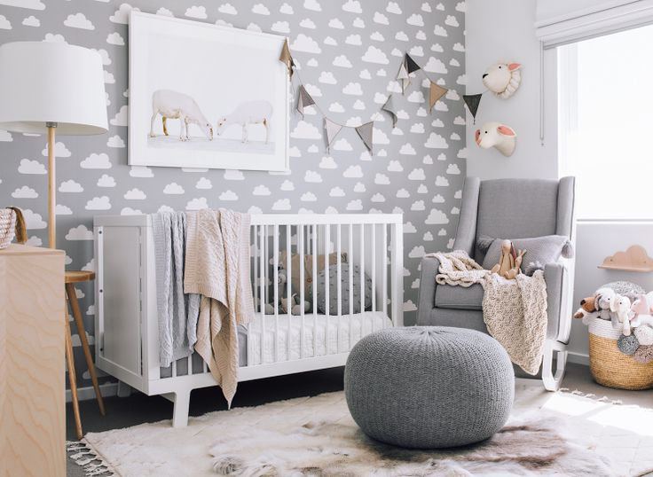 Beautiful grey nursery with White Oeuf Sparrow Crib @oeufnyc