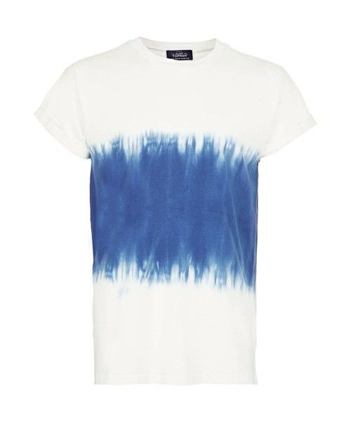 TOPMAN CLOTHING(トップマン クロージング)のBLUE AND WHITE HALF AND HALF TIE DYE T-SHIRT(Tシャツ・カットソー)|ダークブルー I know the person who is so close to me and rocks this tee!  これ、ほんとに似合いそうな人が身近にいます。買ってあげたいいいいいいいいい!店舗でこれの前通り過ぎるたびに思う。