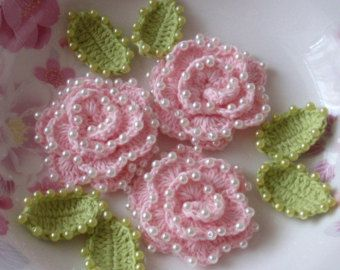 3 Crochet Flower With Pearls YH-072-02