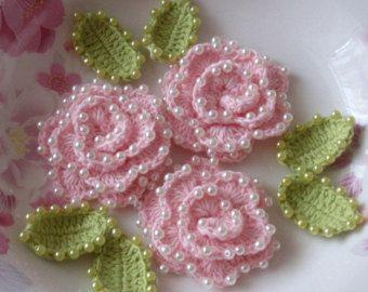 3 rosas de ganchillo con hojas YH  065-02
