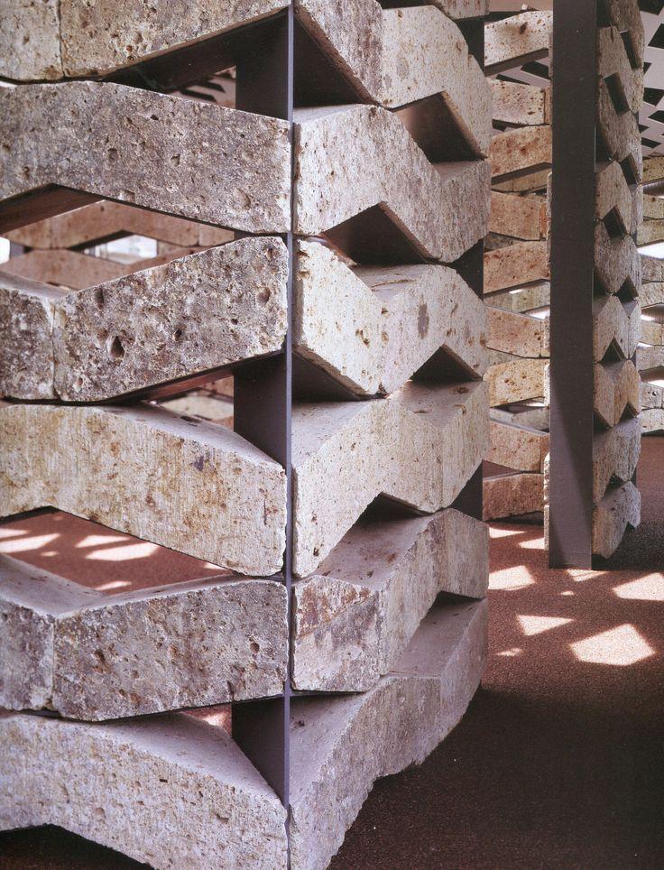 Detail of Ooya stone at the Chokkura Plaza community hall designed by Kengo Kuma.