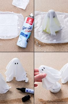 Make DIY halloween decoration yourself: ghost lamps and ghost pendants