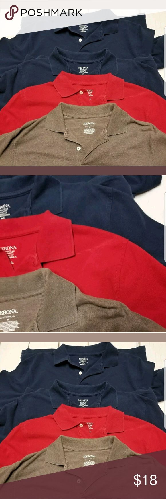 Merona Men's Polo Shirts Size Medium Lot of 4 4 Merona Men's Polo Shirts Size Medium. The red polo shirt has light fading. Please see the pictures. Merona Shirts Polos