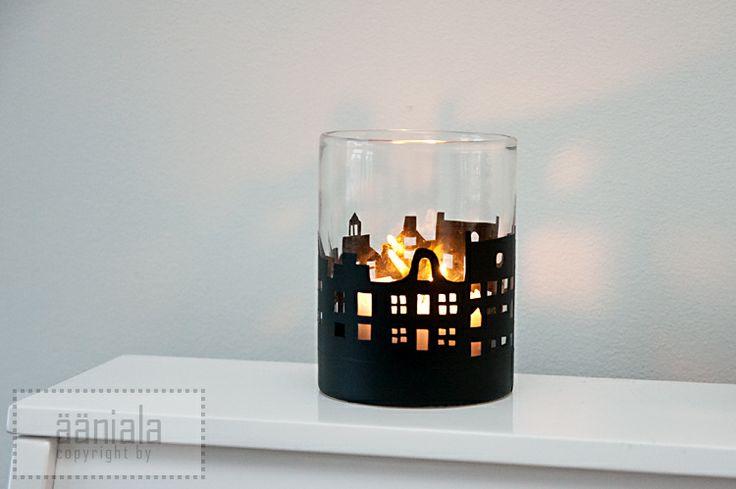 DIY Amsterdam skyline candle lantern