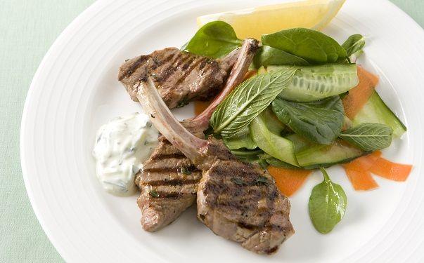Lamb and potato salad with tzatziki