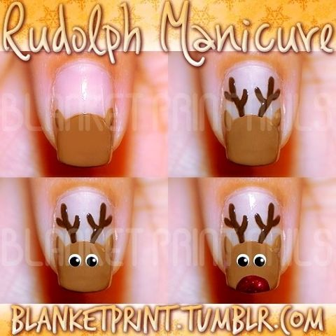 10 best reindeer nails images on pinterest christmas nails a basic reindeer nail art tutorial so here it is start by painting a half circle in light brown on your nail use a dotting tool or thin paintbrush to prinsesfo Choice Image