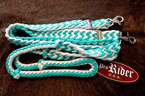 Roping Knotted Western Barrel Reins Nylon Braided Romel Turquoise 60769