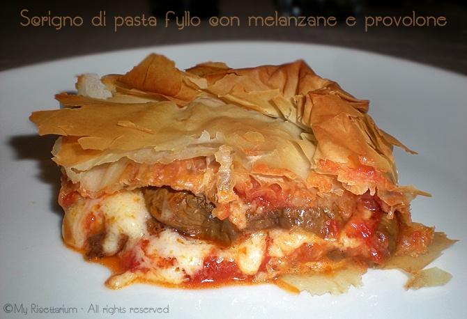 Provolone cheese and eggplant pie - Scrigno di pasta fyllo con melanzane e provolone