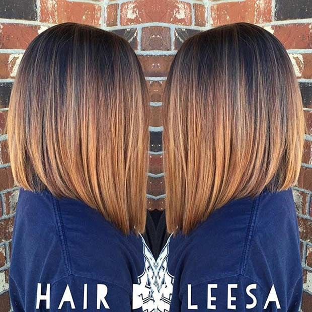 caramel & copper -line long bob