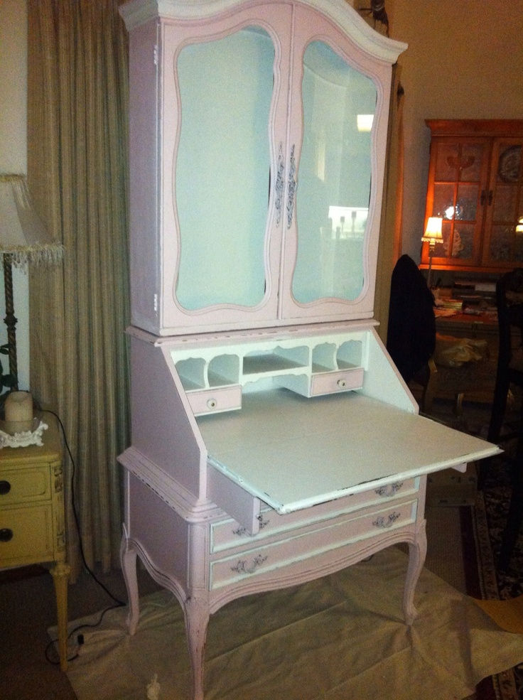 Pink Secretary with desk opened up.