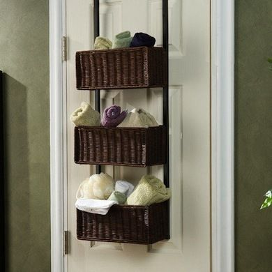 Over the Door Storage If there's no room in the bathroom for a storage console or shelving unit, store your essentials on the door.