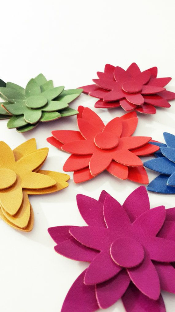Faux Leather Die Cut Felt Star Flower Shapes  Mixed by MadeByOzras