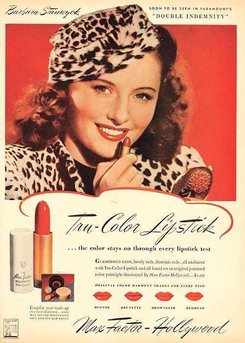 Barbara Stanwyck for Max Factor, Modern Screen, April 1944......Uploaded By www.1stand2ndtimearound.etsy.com
