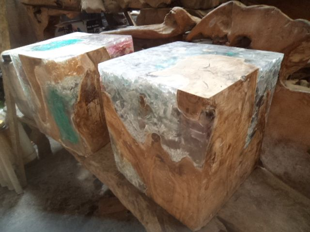 Glass Resin Teak Wood Block Side Table Bali Sourced On