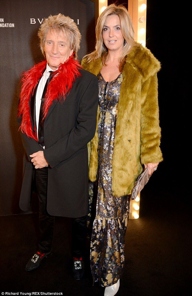 Rock stars:Rod Stewart, 72, and wife Penny Lancaster, 46, kept the good times rolling as ...