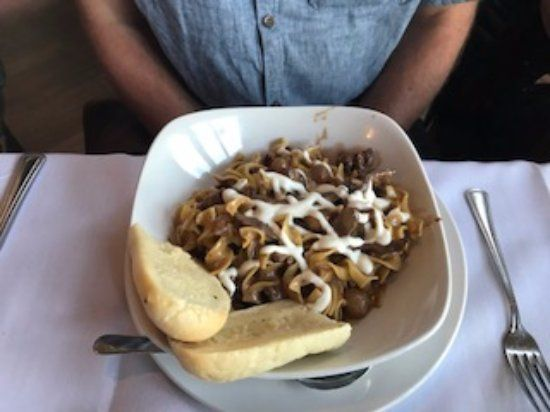 Beef stroganoff special, Lighthouse Bistro and Pub 50 anchor way, Nanaimo, British Columbia