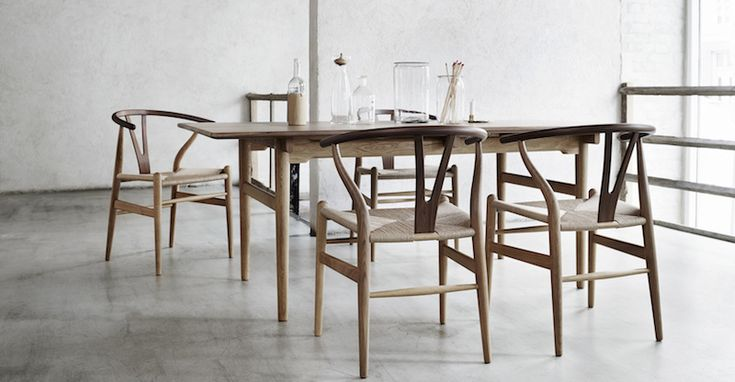 CH24 Wishbone chairs with the ultimate hardwood dining table: CH327 designed by Hans J. Wegner  Danish Interior Design Budapest