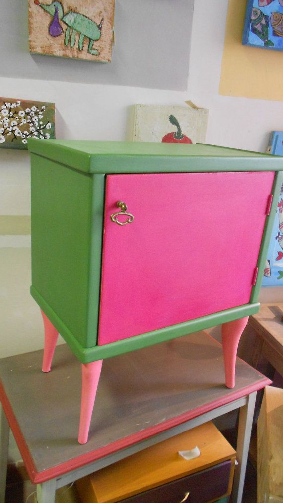 hand painted bedside table pink/green by farerifare on Etsy