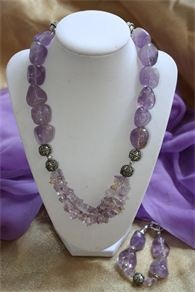 ITEM #8952SGRR - Large Amethyst Nugget Crystal Necklace with Delicate Ametrine Semi Precious Crystal Chips, and Beautiful Silver Plated Silver Plated Hand Made Copper Beads From India. Includes Matching Bracelet. Includes Matching Bracelet.