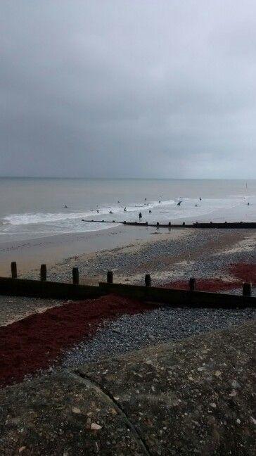 Surfers on the beach, Cromer.