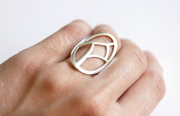 Sterling Silver Oval Ring with a Geometric Pattern Cut out