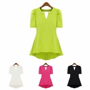 New Fashion Women Candy Colors Short Sleeve V-Neck Chiffon Shirt Blouse