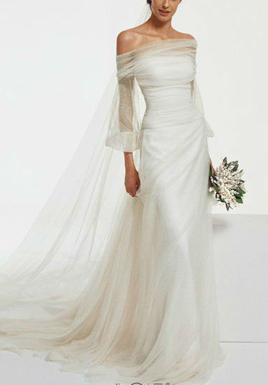 Boat Kneck Long Sleev Drape Back Wedding Dress Neck Sleeve Muslim Nsw2396 Pinterest Dresses And
