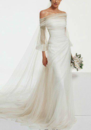 Boat kneck long sleev drape back wedding dress boat neck for Boat neck long sleeve wedding dress
