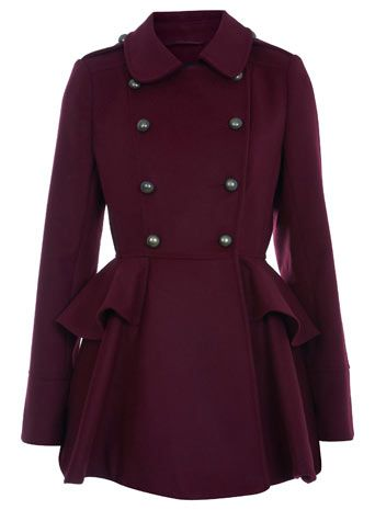 oxblood double breasted coat for winter: