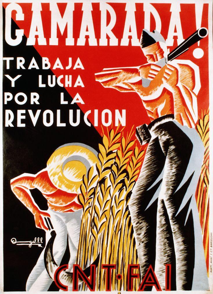 El pancarte representa las republicanas que trabajan por la revolucion. La propaganda promovió a las republicanas atacar.