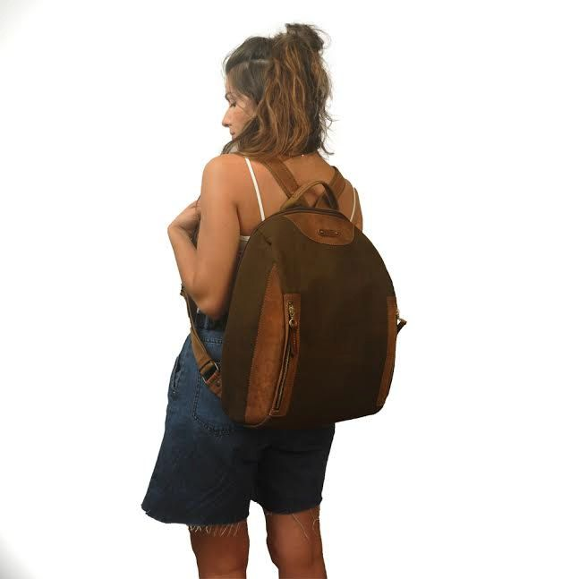 Minimalist  backpack in stonewashed canvas - leather ,for laptop,for him,for her, named DILOS by iyiamihandbags on Etsy
