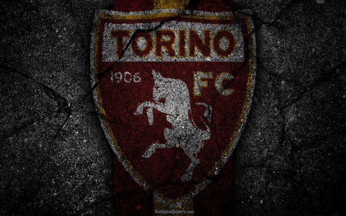 Descargar fondos de pantalla Torino, logotipo, del arte, de la Serie a, fútbol, club de fútbol, el Torino FC, asfalto textura