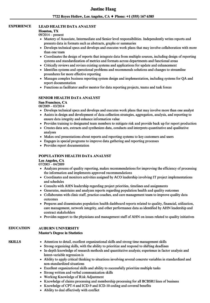 Data Analyst Resume in 2020 Resume examples, Manager