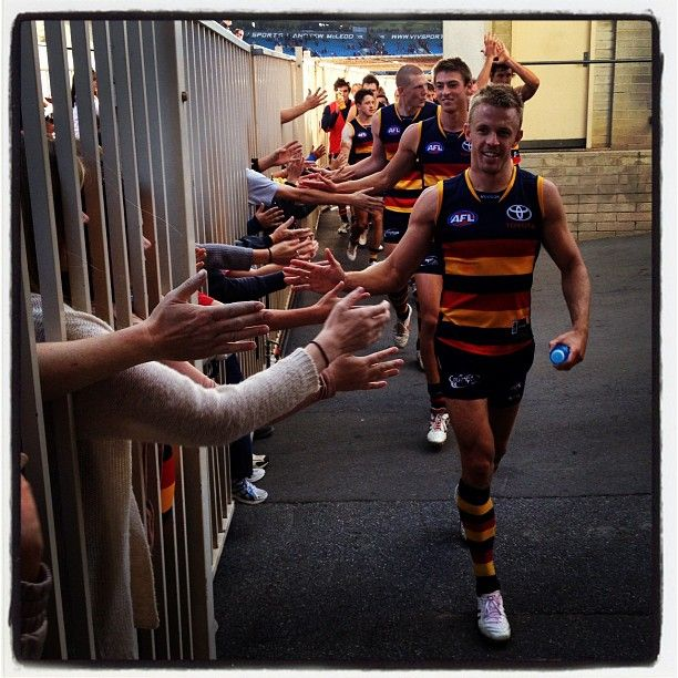 Instagram photo by @adelaide_fc, van Berlo leads the team off after a win
