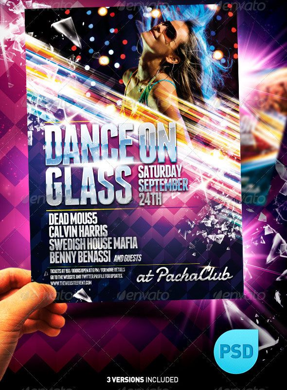 party flyer background NightClub Party Flyer Template / Dance on Glass was created to suit a concert, event, nightclub, club or party event. It is a shiny template with colorful options to promote your event in a great way. NightClub Party Flyer Template / Dance on Glass pack includes 3 files Fully organized layers, all in editable PSD. THE PACK INCLUDES: 3 Files in PSD: Master / Purple / Magenta. Print Ready 5.6 X 7.8 inches / Plus 0.1 inches Bleed. 300 DPI, CMYK. Layers organized in…