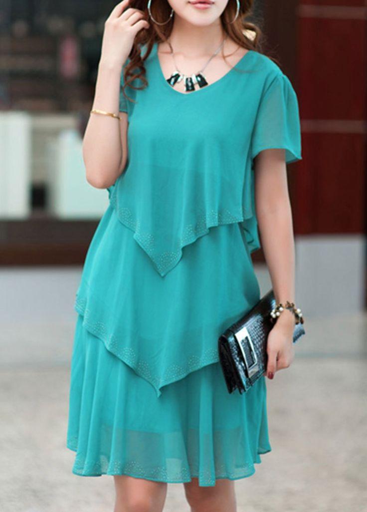V Neck Layered Green Chiffon Dress  on sale only US$25.90 now, buy cheap V Neck Layered Green Chiffon Dress  at lulugal.com