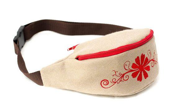 Light brown waist bag / hip bag made from soft felt by Anardeko