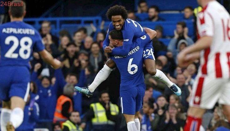 Campeonato Inglês   Com show de Willian, Chelsea goleia Stoke City por 5 a 0