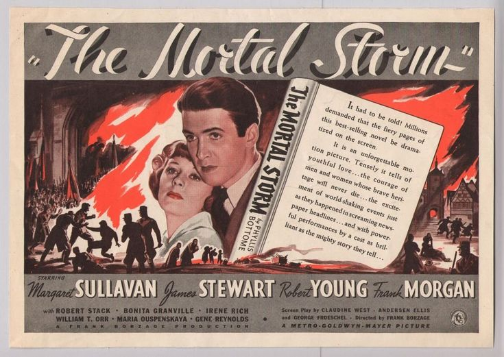 Full-page, horizontal 1940s advertisement for the film ' The Mortal Storm' starring