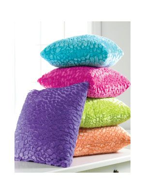 Teen Bedroom Ideas - Teen Bedroom Sets - Teen Bedroom Decorations - Seventeen  Very colorful and a unique texture to the Throw Pillows.  #TeenBedroomIdeas, #ColorfulPillows, #CustomPillowDecor