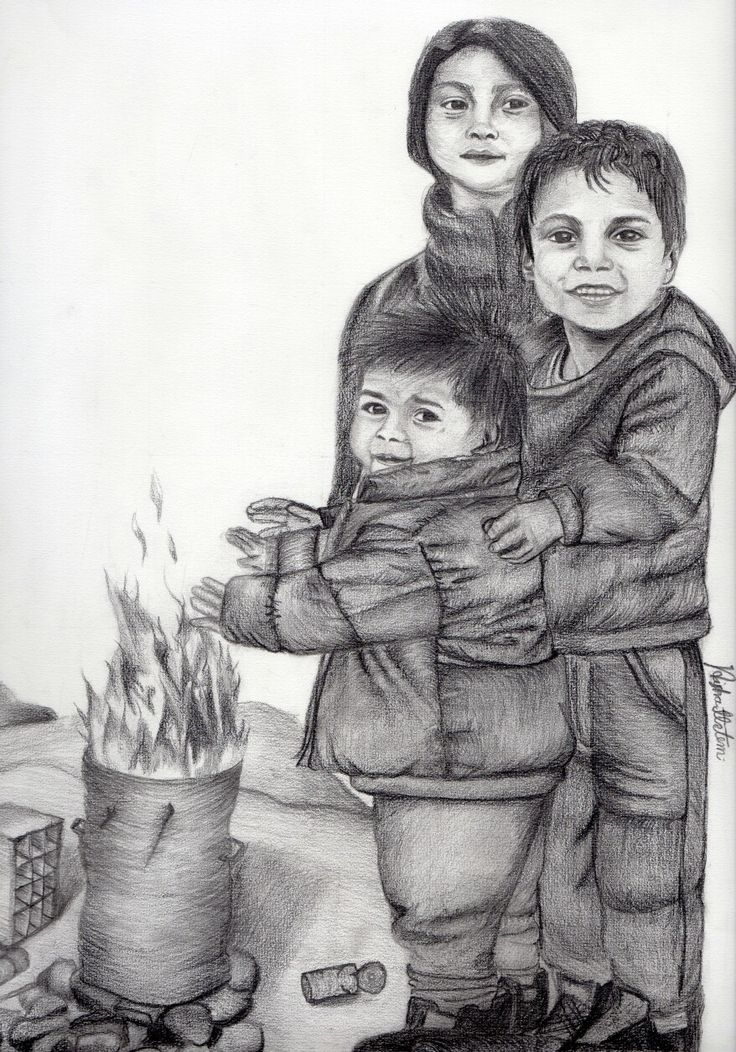 رسمي بالرصاص لاطفال مهجرين