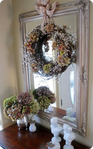 simple wreath with hydrangea/crystal beading...nice mirror!