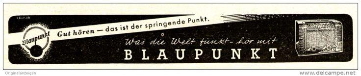 Original-Werbung/Anzeige 1938 - BLAUPUNKT RADIO -  ca. 130 x 25 mm