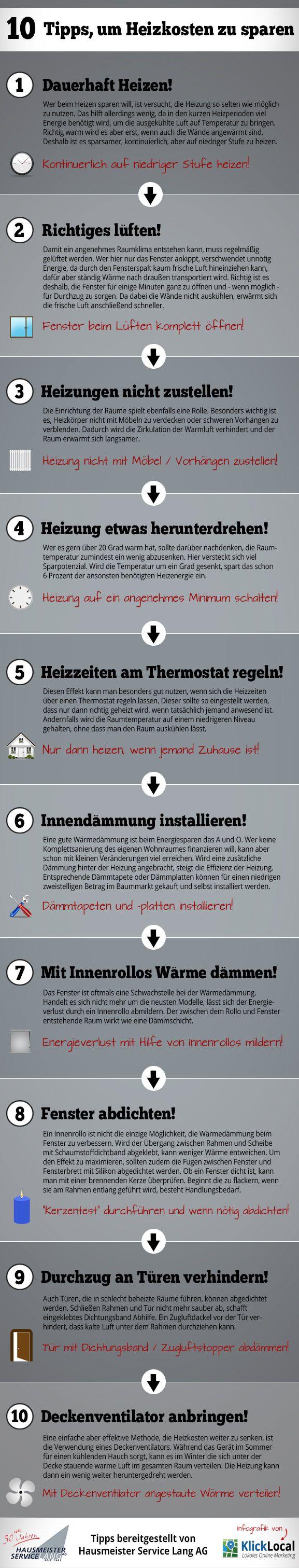 Infografik: 10 Tipps um Heizkosten zu sparen. Zu sehen auf: http://www.hms-lang-ag.de/10-tipps-heizkosten-sparen